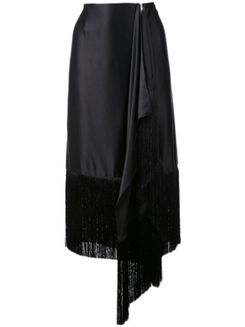 fringed asymmetric skirt BLACK