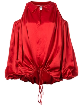 cut-out shoulder blouse RED