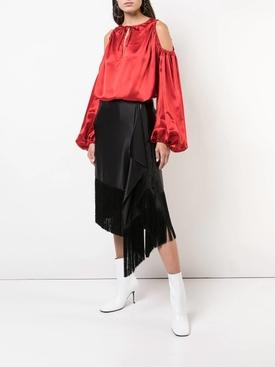 cut-out shoulder blouse RED