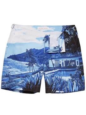 Bulldog blue view mid-length swim shorts BLUE