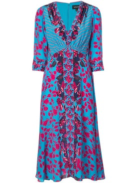 Saloni - Multi-print Dress Blue - Women