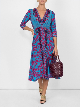 multi-print dress BLUE