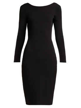 Darta scoop-back midi dress BLACK