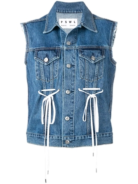 Lace Denim Vest BLUE
