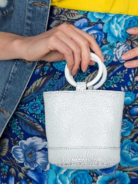 Crackled mini bucket bag WHITE