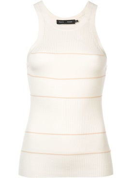 Proenza Schouler - Silk Cashmere Stripped Tank Top White - Women