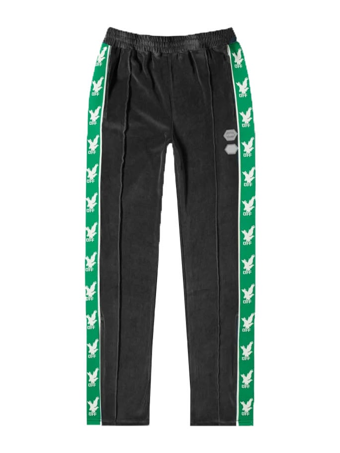 Off-white Side-stripe Velour Jogging Bottoms In Black