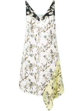 asymmetric cotton flower print dress