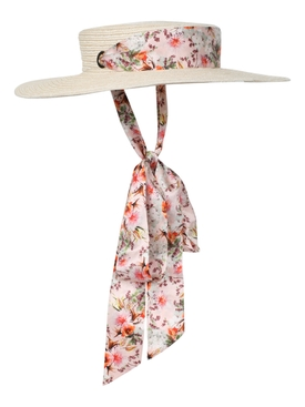 X Markarian Floral Print Straw Boater Hat