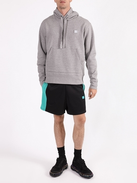 Face Drawstring Hoodie, Light Grey
