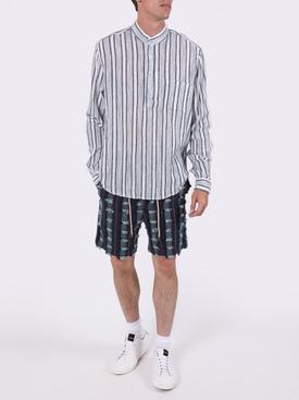 Black and White Linen Mandarin Shirt
