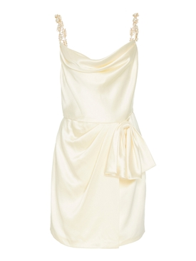 Ivory Rosetta Wrap Mini Dress