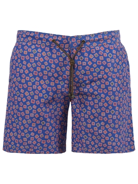 X Charvet Multicolor Square Print Swim Shorts, Blue