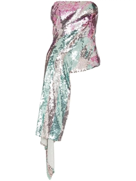Metallic sequinned draped strapless top