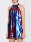 Halpern - Sequined Halter Dress - Mini