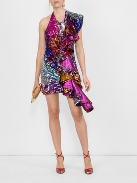 Front ruffled party dress