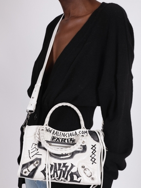 White and black classic mini city bag