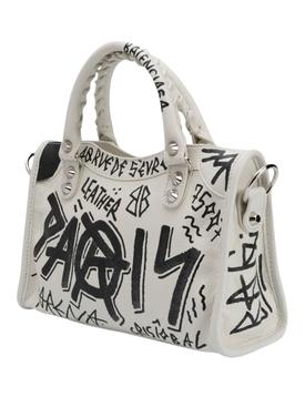 White and black classic mini city bag