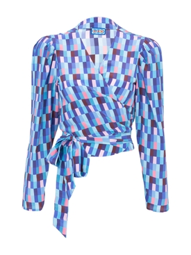 Blue checks Odalys Blouse BLUE