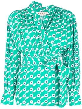 floral print shirt GREEN