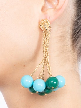 Lhd - Lhd X Aurelie Bidermann Green And Turquoise Palazzo Earrings - Women