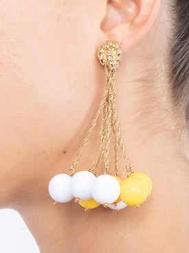 Lhd - Lhd X Aurelie Bidermann Yellow And White Palazzo Earrings - Women