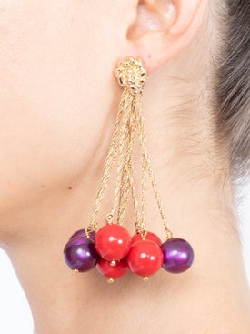 Lhd - Lhd X Aurelie Bidermann Red And Purple Palazzo Earrings - Women