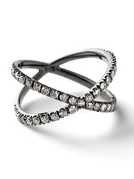 Eva Fehren - Blackened White Gold Shorty Ring - Women