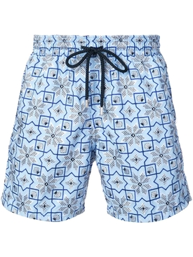 Geometric snowflake swim trunks