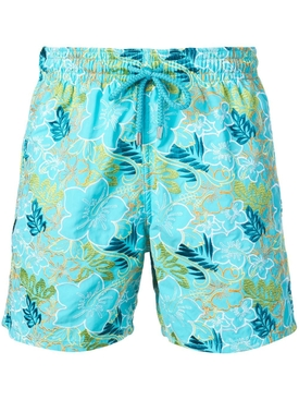 floral embroidery swim shorts