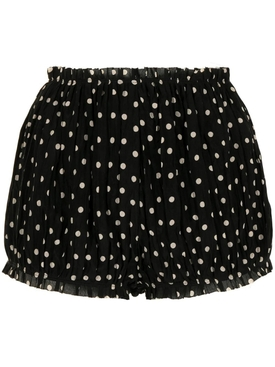 Hilary Polka-Dot Print Shorts, Black and Cream
