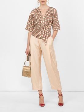 striped back tie blouse MULTICOLOR