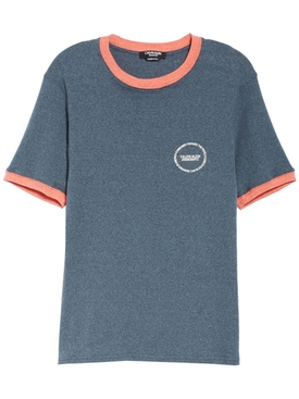 contrast trim T-shirt BLUE