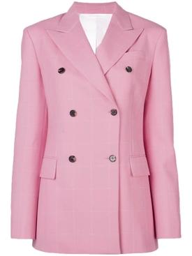pink grid blazer
