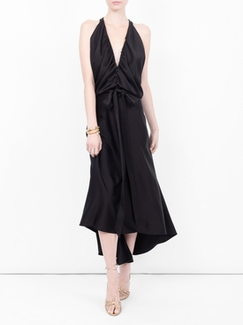 draped flared midi dress