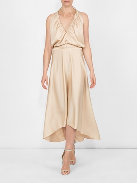 deep v-neck fluid dress