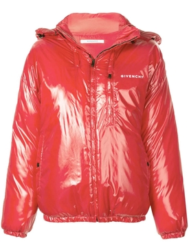 hooded puffer coat RED