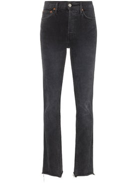 Re/done - Black Double Needle Long Straight Leg Jeans - Women