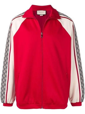 logo print track jacket RED