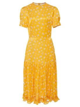 The Vampire's Wife - Yellow Hummingbird Dress - Mid-length