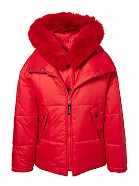 Fox trimmed puffer coat