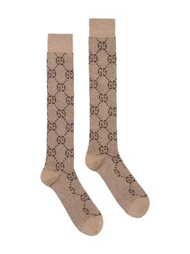 Gucci - Lurex Interlocking G Socks Neutral - Women