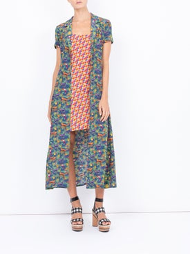 Lhd - Careyes Quirky Print And Bright Checks Marlin Dress - Women