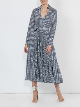 printed belted dress BLUE