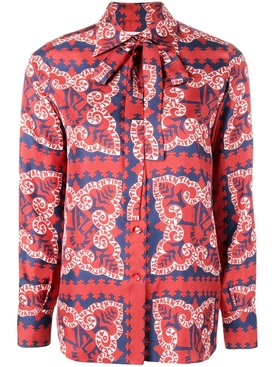 Geometric paisley blouse RED