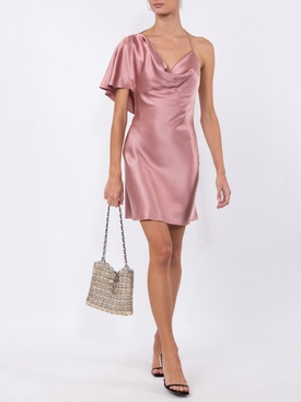 Silk one-shoulder mini dress WOODROSE