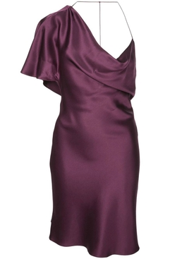 one-shoulder silk dress PURPLE