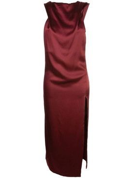 red asymmetric satin dress