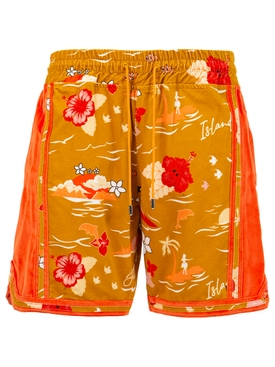 ISLAND SHORTS RED AND BROWN