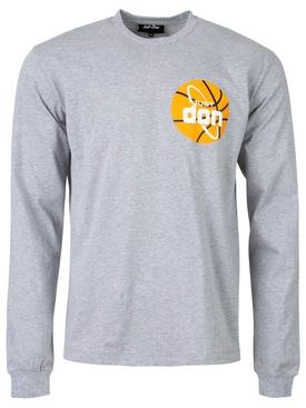 Basketball Logo Long-sleeve Tee Grey